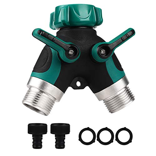 KWODE Garden Hose Splitter,2 Way Hose Tap Connector,3/4' Ourdoor Y Valve Hose Connector with 2 water tap connectors and 3 Rubber Washers for Garden Watering