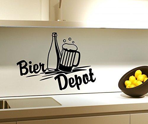 Wandtattoo Bier Depot Küche Bar Flasche Wand Sticker Aufkleber Wandbild 3D635, Farbe:Braun Matt;Breite vom Motiv:25cm