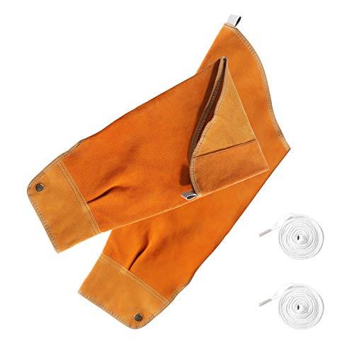 Leather Welding Sleeves, Heat & Flame Resistant Arm Protection Sleeve, Cowhide Welding Work Sleeves for Men & Women