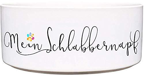CADOURI - Keramik Hundenapf Futternapf Wassernapf mit Schriftzug MEIN SCHLABBERNAPF - 1.300 ml