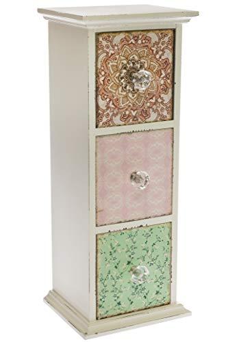 elbmöbel Petite commode 42 x 16 x 14 cm avec 3 tiroirs en cachemire multicolore blanc vieilli