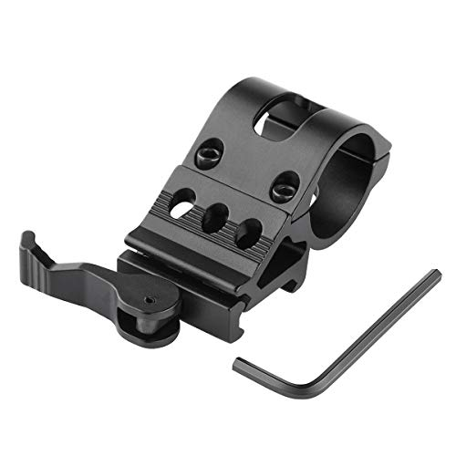 BOODMENT Tactical Flashlight Mount Quick Release Picatinnly Rail Mount Tactical 45 Degree 1' Offset Picatinny/Weaver Rail Mount for Flashlights with Quick Release