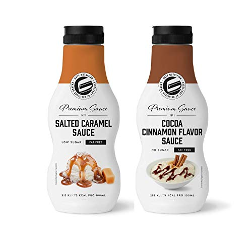 Got7 Sweet Premium Sauce Sirup Dessertsauce Diät wenig Kalorien 2x 250ml (Cocao Cinnamon & Salted Caramel)
