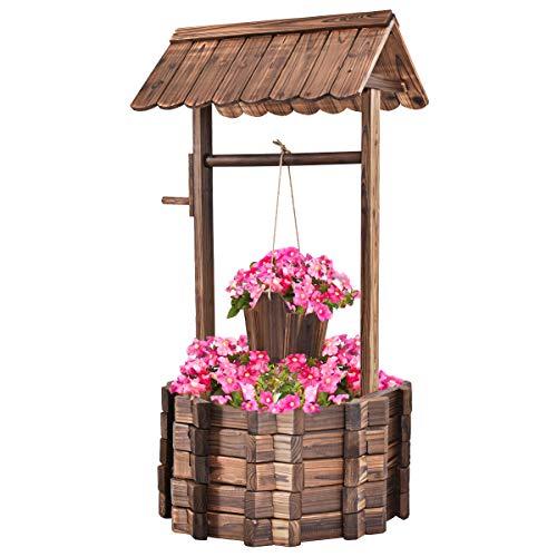 Giantex Outdoor Wooden Wishing Well Bucket Flower Plants Planter Patio Garden Home Decor