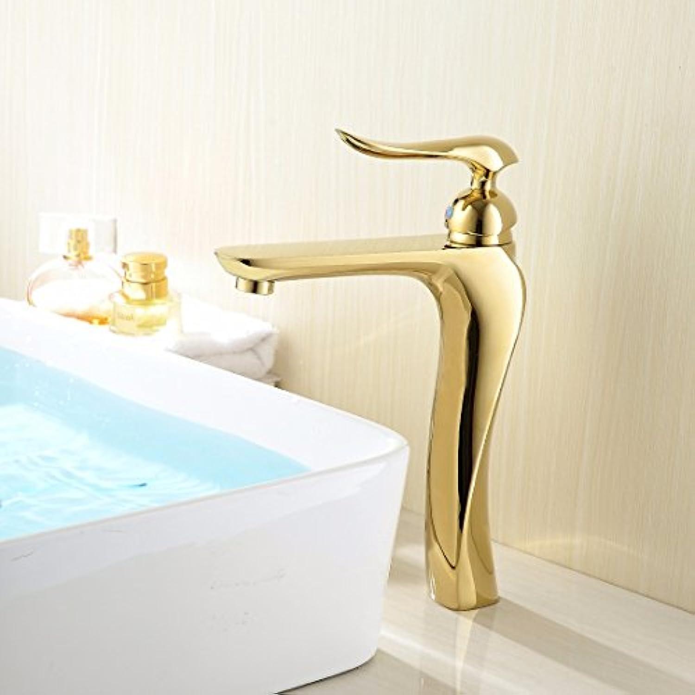 MMYNL TAPS MMYNL Waschtischarmatur Bad Mischbatterie Badarmatur Waschbecken Antike Retro-Brass Chrom Gold Lange einzigen Griff Einloch Mischbatterie Badezimmer Waschtischmischer