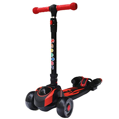 WXYLYF Scooters De Tres Ruedas Kick Scooter Flicker Swing Car Ride on Swivel Scooter Toy Light Up Scooter Red