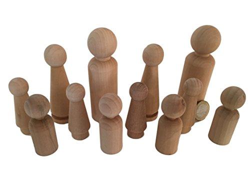 MEIERLE & Söhne 12 Familie Männchen Figuren Holzfiguren Spielfiguren zum Bemalen Basteln Holz Puppen Krippenfiguren Spielfiguren Mann Frau Junge Mädchen Kinder