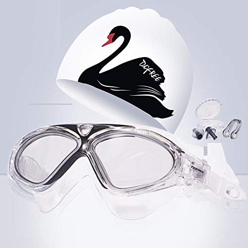 gorro de natación Silicona gorro de baño orejeras de pelo largo gorro de baño-gorro de baño + gafas de natación impermeables