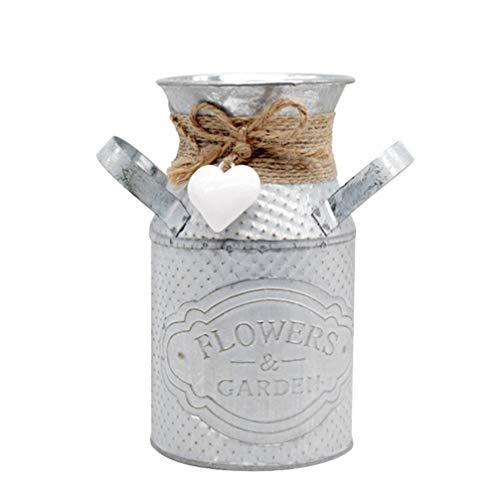 Garneck Vaso di Fiori Rustico Shabby Chic Metallo Vintage Vaso Brocca per La Decorazione del...