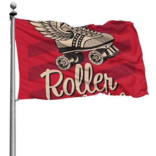 Yushg Yard Flag Stand Nette Retro Rollschuhe Flaggen Party Dekoration Individuell Bedruckte Flagge 4x6 Ft (120x180cm) Polyester Mit Ösen Dekorationen Innen/Außen