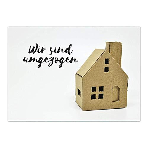 16 x Postkarten für Umzug - Motiv Kartonhaus - Wohnungswechsel, Einzug, Auszug, neue Adresse, Karte