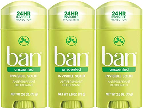 Ban Anti-Perspirant Deodorant Invisible Solid Unscented 2.60 oz (3 pack)