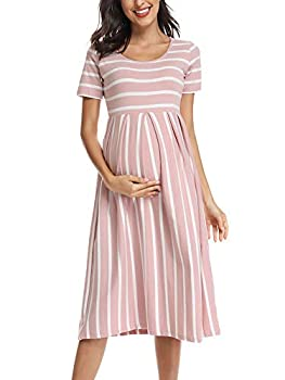 BBHoping Women's Casual Striped Maternity Dress Short&3/4 Sleeve Knee Length Pregnancy Clothes for Baby Shower  Dustypink White Stripe,S