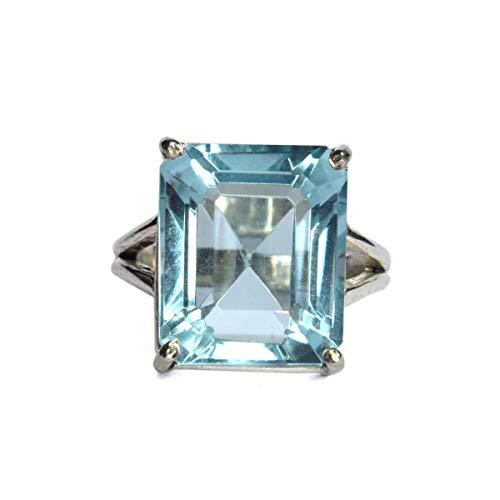 Anillo de promesa de anillo de aguamarina azul, anillo de plata esterlina Gema de corte esmeralda Anillo de piedras preciosas sueltas de color púrpura
