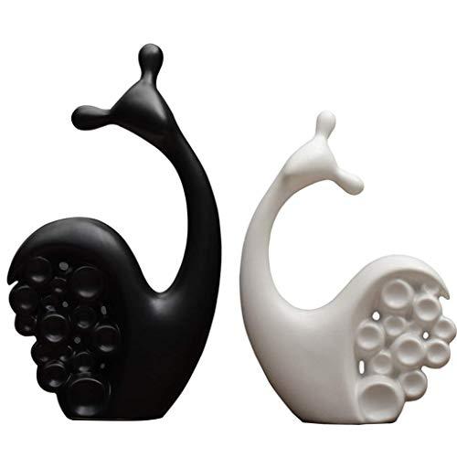 SHUMEISHOUT Nouveau Style Sculpture de Bureau Nordic Creative Home Décorations Céramique Amants d'escargots Ornements d'escargot Moderne Mobilier de Salle de séjour Mobilier de Salon