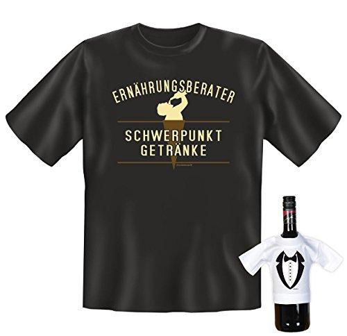 Lässiges Sprüche T-Shirt - Ernährungsberater Schwerpunkt Getränke - Im Set mit einem gratis Gentleman Minishirt!