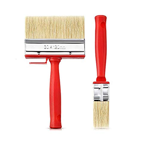 2 Pieces Shed Fence Paint Brush Decking Timber Block Stain Brush Ceiling Brush, Tick Plastic Handle Non-linting Painting Tool Brush for House,Wall,Sash