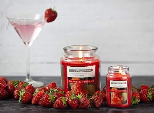 Ossian Cocktail Duftkerze - Medium 400g / 15oz Home Fragrance Glasglocke mit Deckel und Naturfaser-Dochten für EIN schönes süßes und verwöhntes Aroma zu Hause, Erdbeere Daiquiri, M