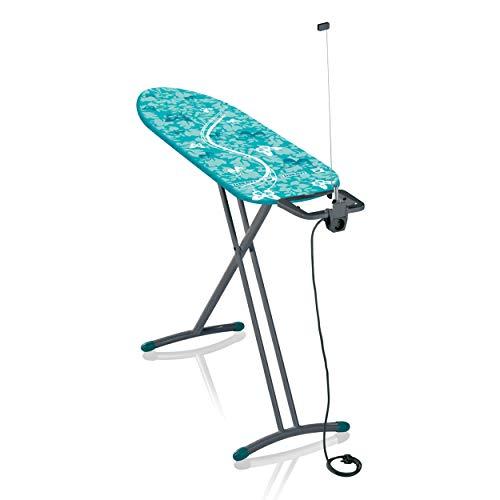 Leifheit Bügeltisch Air Board M Solid Plus 60years Color Edition grün, ist höhenverstellbar, Bügelbrett für Dampfbügeleisen, Dampfbügeltisch mit Zwei-Seiten-Bügeleffekt, Limited Edition grau lagoon