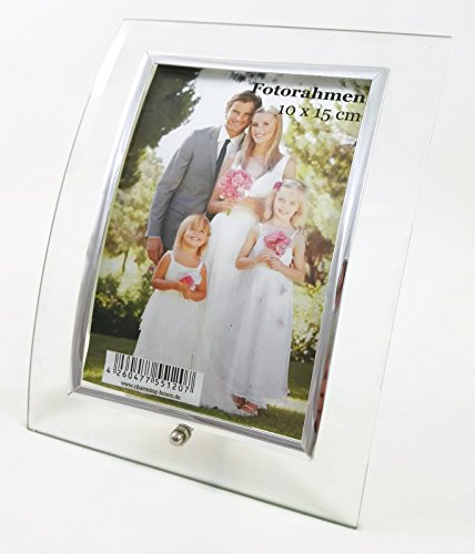 CharmingBoxes Geschwungener Bilderrahmen aus Glas, für Fotos 10 x 15 cm - senkrecht geschwungen, mit silbener Standschraube & silbernem Steg-Innenrahmen, Hochzeitsgeschenk, Weihnachten