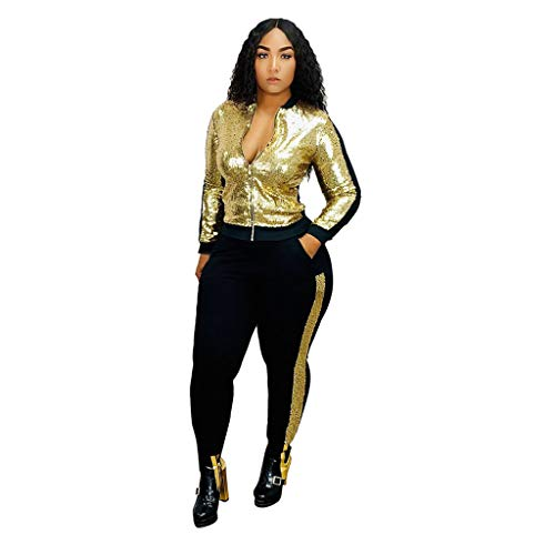 HWTOP Sport Jacke Sweathose Sportswear-Sets Frauen Freizeitanzug Pailletten Langarm Bauchfrei Crop Top Trousers Anzug, Gold, Small