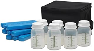 Ameda Cool N Carry Breast Milk Storage System, Includes: Insulated Black Nylon Carry Bag, (3) Freezer Packs, (6) 4oz. Bottles with 2-Piece Lock-Tight Caps, Milk Storage Guidelines, Instructions