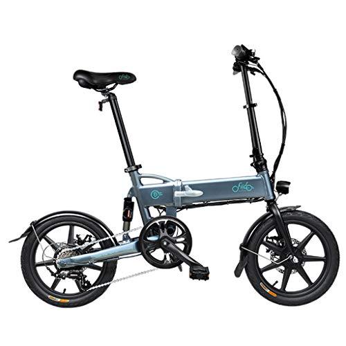 SZPDD FIIDO D2 Bicicleta eléctrica Plegable Tres Modos de conducción Ebike 250W Motor 25Km / H 25-40KM Range E Bike Bicicleta eléctrica de neumáticos de 16 Pulgadas,Gris,6speed