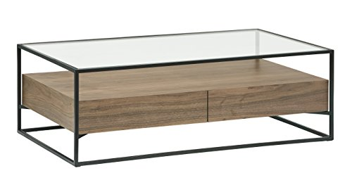 Amazon Brand -Rivet King Street 2-Drawer Coffee Table with Glass Table Top, 120 x 40 x 70cm, MDF with Walnut Veneer/Black Metal/Tempered Glass