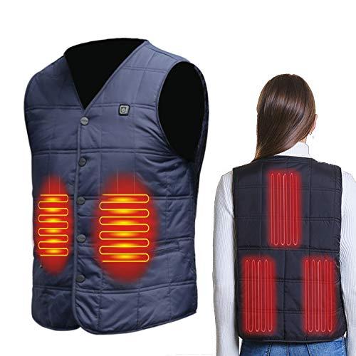 Yeah-hhi Chaleco de calefacción USB eléctrico inteligente calentado chaqueta control de temperatura hombre mujer ropa calentada para pesca esquí camping D ~ 1, L
