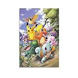 AAOO Póster de Rugtas Pokémon sobre lienzo y póster de pared, impresión de imagen moderna para habitación familiar, 60 x 90 cm