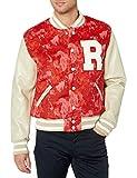True Religion Men's Varsity Jacket, Red Water Color Tie Dye, X Large