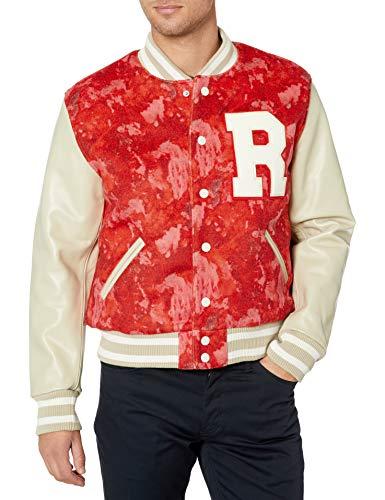 True Religion Men's Varsity Jacket, Red Water Color Tie Dye, Medium