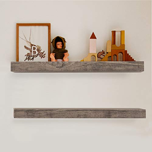 Scholartree Rustic Floating Shelves for Wall Mounted Set of 2, Wood Shelf for Living Room, Bedroom, Kitchen, Bathroom