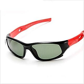 WDFDZSW - WDFDZSW Marca Super Light for niños Gafas de Sol polarizadas Deporte de los niños Gafas de Sol UV400 protección Exterior de Goma de Seguridad Oculos (Lenses Color : Black Red)