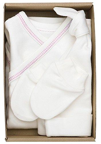 The Dida World Nones - Pack Naissance avec 1 Body Kimono repunte Rose, Gants et Bonnet, Taille 0 Mois
