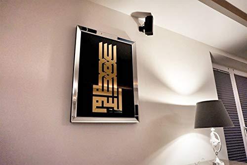 Design Wandbild Spiegelglas Glasbild Spiegelrahmen handmade Carl Svensson 50x70 Kufi Gold