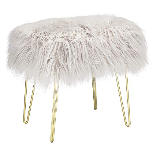 Your Home Faux Fur Stool with Gold Hairpin Legs, Décor for Home, Living Room & Bedroom, Height 44.5cm