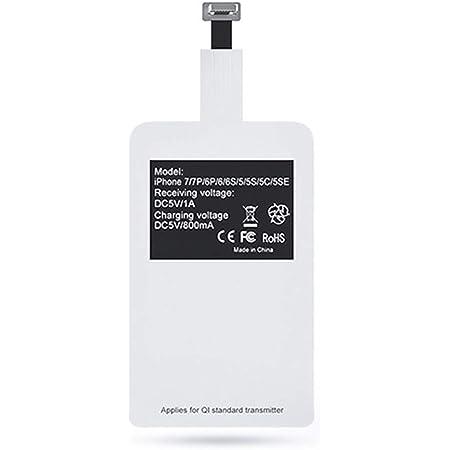 Ren He ワイヤレス充電器 急速 ワイヤレスチャージャー ワイヤレス充電レシーバー 極薄 Qi ワイヤレス 充電レシーバー iPhone5/5s/5c/6/6s/6p/6sp/7p対応 (ワイヤレス充電レシーバー)