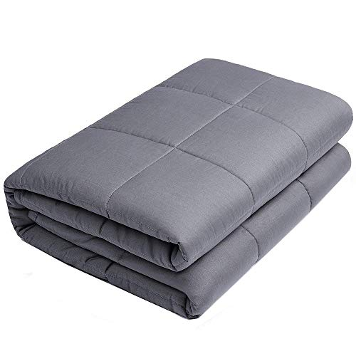 Anjee Weighted Blanket- Premium Various Gravity Blankets for Great Sleep | 100% Cotton Material with Glass Beads (48 x 72 Inches, 15 lbs for 130-150 lbs Individual, Grey)