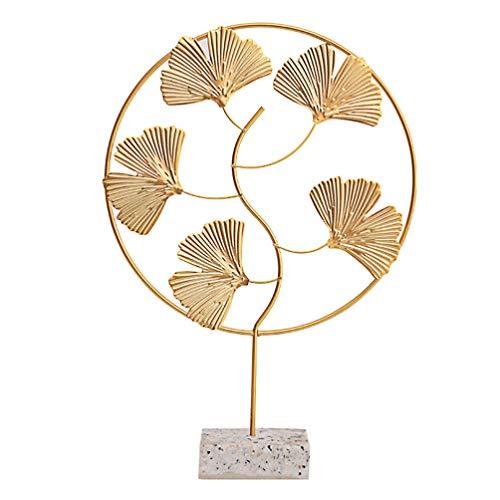 VORCOOL Künstliche Bonsai Baum Nordischen Stil Gold Ginkgo Baum Zimmerpflanzen Tischplatte Feng Shui Baum Figuren Einladende Topfpflanzen für Home Office Tischdekoration (Golden)