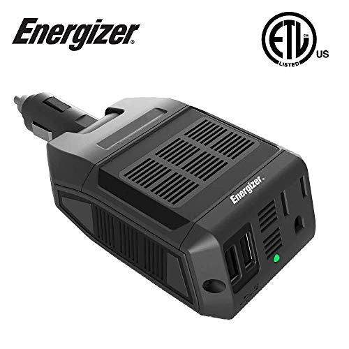 Energizer 100 Watts Power Inverter, Modified Sine Wave Car 12V to 110V Inverter, DC to AC Converter with Two USB Charging Ports (2.1A), Ultra-Silent - ETL Approved