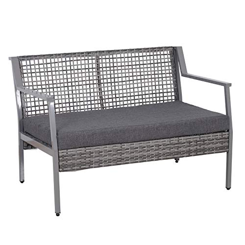 Outsunny Aluminum Rattan Wicker Outdoor Patio Cushioned Loveseat Bench - Grey