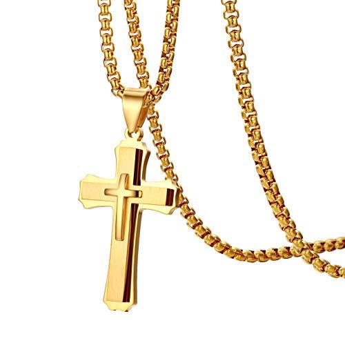 OIDEA Collana da uomo in acciaio inox con ciondolo a forma di croce con preghiera e Acciaio inossidabile, colore: gold, cod. O00200002