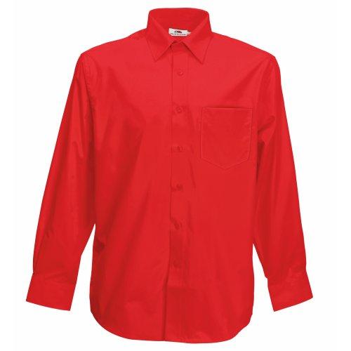 Fruit of the Loom Herren Long Sleeve Poplin Shirt Freizeithemd, Rot (Red), XX-Large