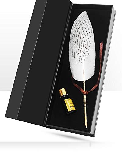 Sayou Pluma de escritura, pluma de escritura antigua para un regalo (Pluma blanca)