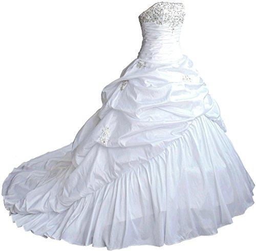 FairOnly M045 Liebsten TAFT Hochzeitskleid Brautkleider (XL, Weiß)