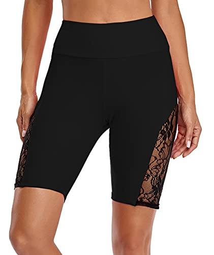 Urchics Womens Plus Size Rash Guard Capris Long Swim Shorts Tankini Bottom Black 4X