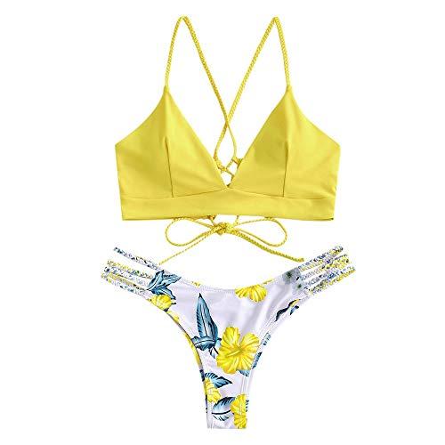 ZAFUL zweiteilig Bikini-Set mit Flechtgurt verstellbarem BH Push-Up Rücken, Triangle Bustle Badehose mit Blummenmuster (Hellgelb 2, S (EU 36))