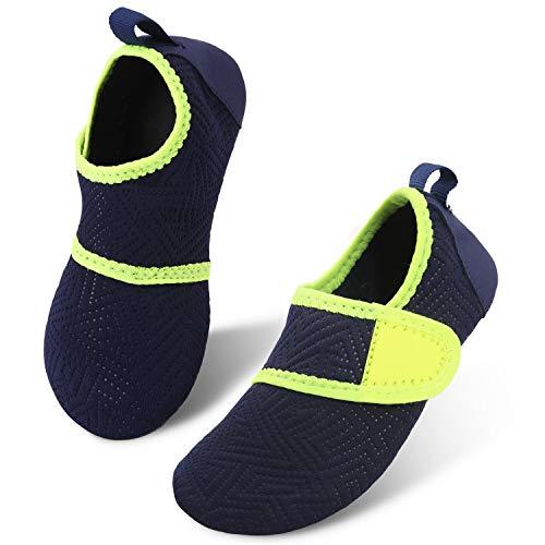 JIASUQI Kinder Jungen Mädchen Sportlich Wasser Haut Schuhe für Strand Schwimmen Pool Einfach Marine, 28/29 EU
