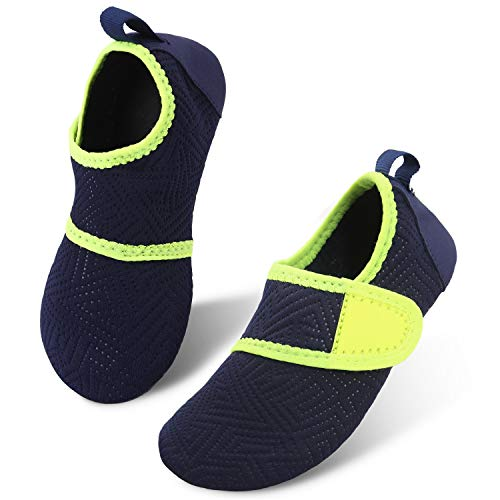 JIASUQI Kids Boys Girls Quick Dry Aqua Water Shoes for Swim Beach Swimming Easy Navy, 13/13.5 UK Child
